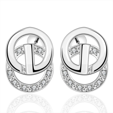 Sterling Silver Duo-Circular Stud Earring - rubiquejewelry.com