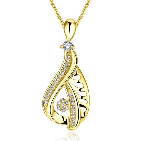 Gold Plated Hollow Curved Classic Necklace - rubiquejewelry.com