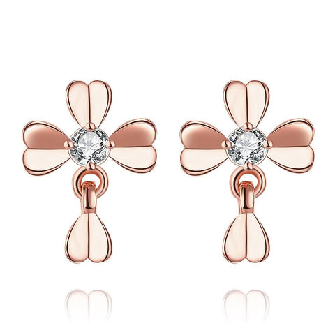 Rose Gold Plated Classic Modern Clover Stud Earrings - rubiquejewelry.com
