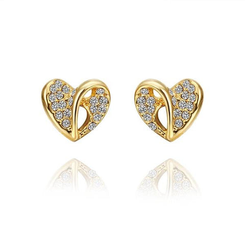 18K Gold Hollow Heart Shaped Stud Earrings Made with Swarovksi Elements - rubiquejewelry.com