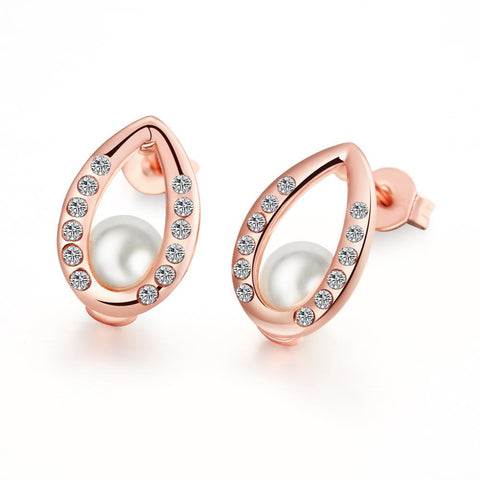 18K Rose Gold Plated Pear Studded Pearl - rubiquejewelry.com