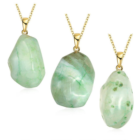 Emerald Drop Natural Agate Necklace - rubiquejewelry.com