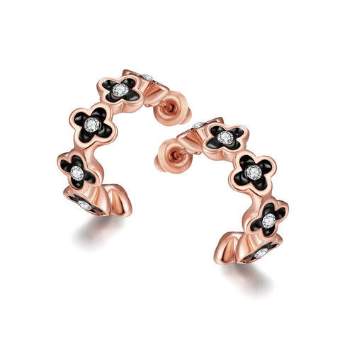18K Rose Gold 1/2 Hoop Earrings Made with Swarovksi Elements - rubiquejewelry.com