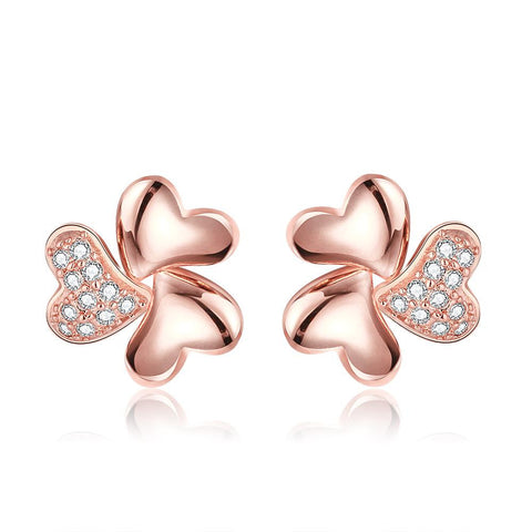 18K Rose Gold Abstract Clover Stud Earrings Made with Swarovksi Elements - rubiquejewelry.com