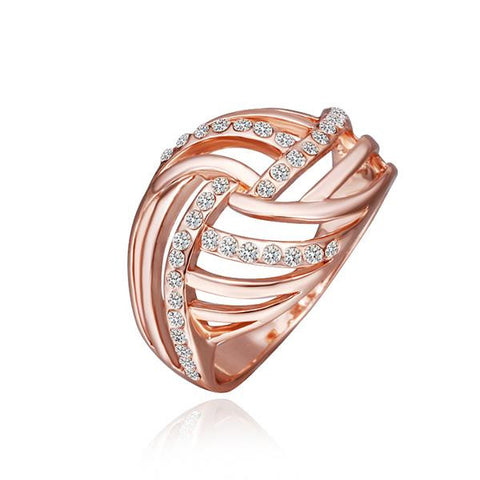 Rose Gold Plated Diamond Crystal Swirl Ring - rubiquejewelry.com