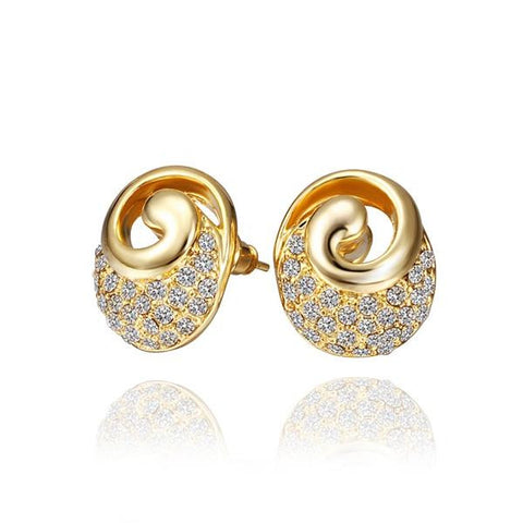 18K Gold Spiral Stud Earrings with Crystal Jewels Made with Swarovksi Elements - rubiquejewelry.com