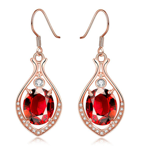 Rose Gold Plated Grape Vine Drops with Ruby Gem - rubiquejewelry.com