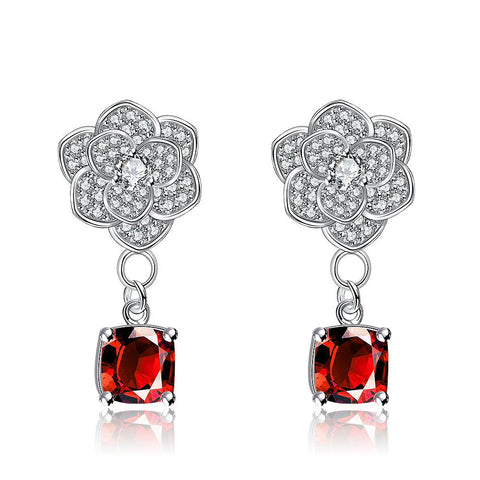White Gold Plated Classic Ruby Gem Earrings - rubiquejewelry.com