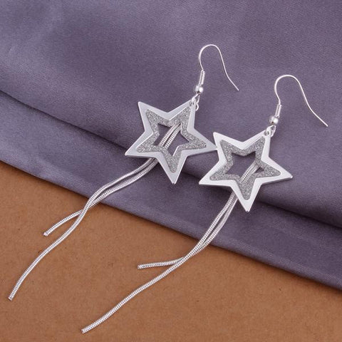 Sterling Silver Drop Star Shaped Earring - rubiquejewelry.com