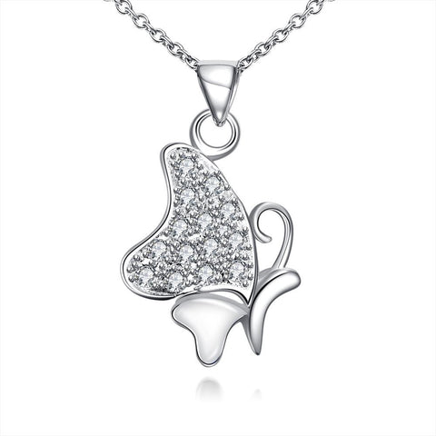 Ivory Plated Jewels Covering Butterfly Necklace - rubiquejewelry.com