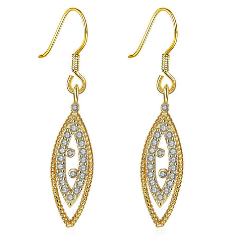 Gold Plated Classic Roman Inspired Drop Down Earrings - rubiquejewelry.com
