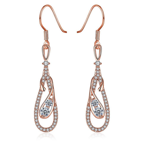 Rose Gold Zig Zag Inspired Earrings - rubiquejewelry.com