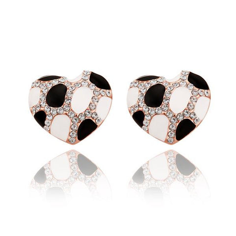 18K Rose Gold Heart Shaped Ivory & Onyx Gem Stud Earrings Made with Swarovksi Elements - rubiquejewelry.com