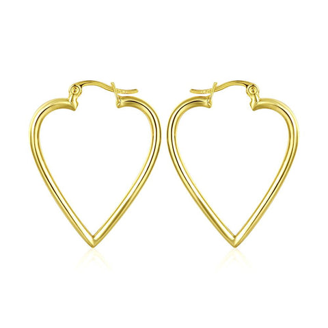 18K Gold Angular Heart Shaped Earrings Made with Swarovksi Elements - rubiquejewelry.com