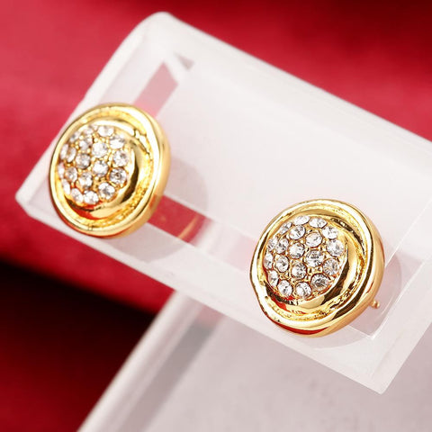 18K Gold Classic Petite Stud Earrings Made with Swarovksi Elements - rubiquejewelry.com