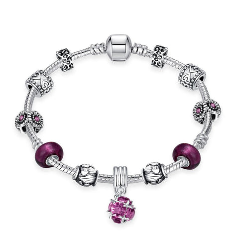 Amethyst Crystal Pandora Inspired Bracelet Made with Swarovski Elements