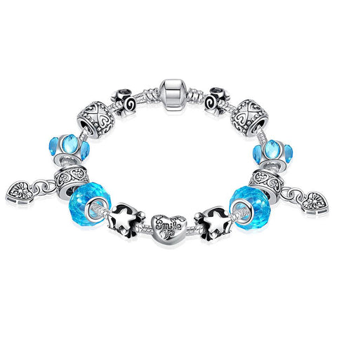 Aquamarine Crystal Smile Pandora Inspired Bracelet Made with Swarovski Elements