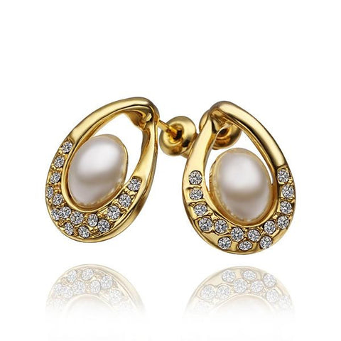 18K Gold Acorn Shaped Stud Earrings with Jewels Covering Made with Swarovksi Elements - rubiquejewelry.com