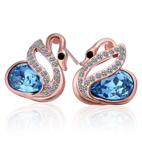 18K Rose Gold Elegant Swan Earrings Made with Swarovksi Elements - rubiquejewelry.com