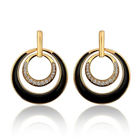 18K Gold Onyx Layering Spiral Circle Earrings Made with Swarovksi Elements - rubiquejewelry.com