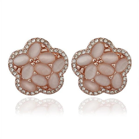 18K Rose Gold Flower Shaped Natural Gemstones Stud Earrings Made with Swarovksi Elements - rubiquejewelry.com