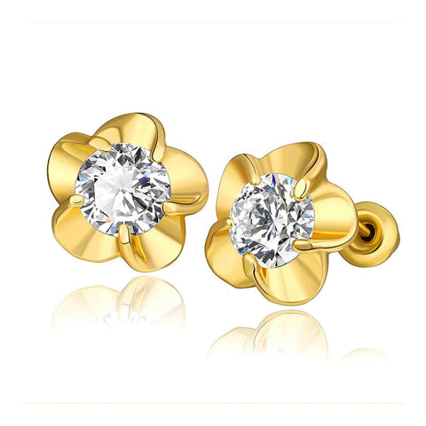 18K Gold Rose Petal Stud Earrings with Swarovski Jewel Made with Swarovksi Elements - rubiquejewelry.com