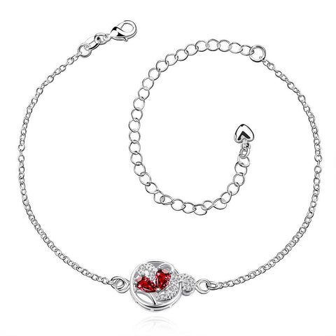 Ruby Red Petite Gem Anklet - rubiquejewelry.com