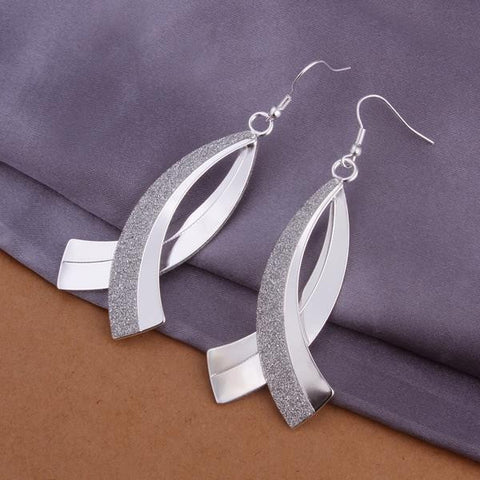 Sterling Silver Curved Loop Drop Earring - rubiquejewelry.com