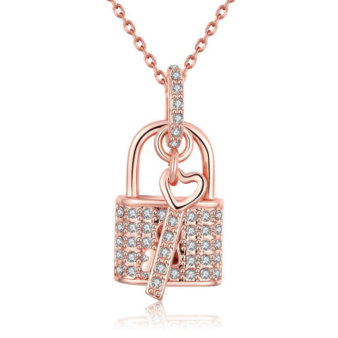 18K Rose Gold Plated Key to your HeartNecklace by Rubique Jewelry