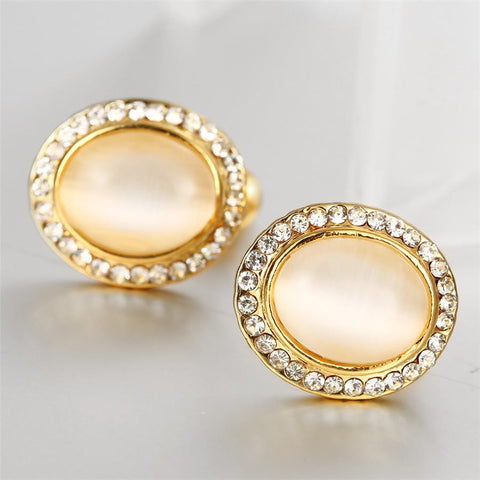 18K Gold Spiral Classic Stud Earrings Made with Swarovksi Elements - rubiquejewelry.com