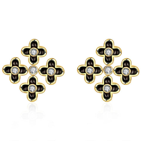 18K Gold Mini Cross Stud Earrings Made with Swarovksi Elements - rubiquejewelry.com