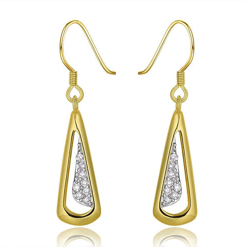 18K Gold Triangular Drop Down Earrings Made with Swarovksi Elements - rubiquejewelry.com
