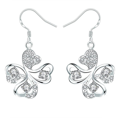 Crystal Jewels Clover Shaped Drop Earrings - rubiquejewelry.com
