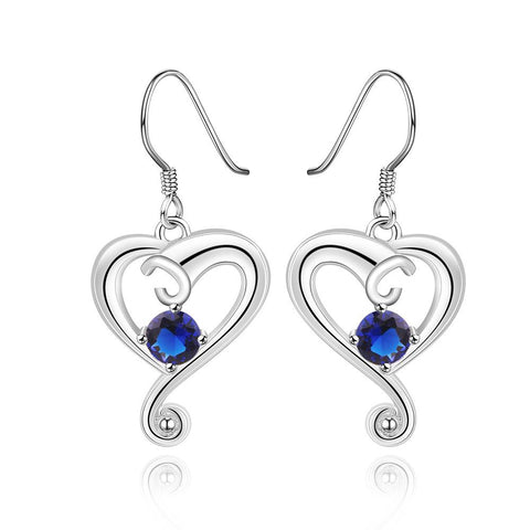 Sterling Silver Sapphire Stone Curved Heart Drop Earring - rubiquejewelry.com
