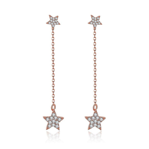 Rose Gold Plated Dangling Stars Earrings - rubiquejewelry.com