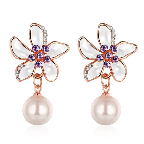 18K Rose Gold Ivory Floral Petals Drop Down Earrings Made with Swarovksi Elements - rubiquejewelry.com