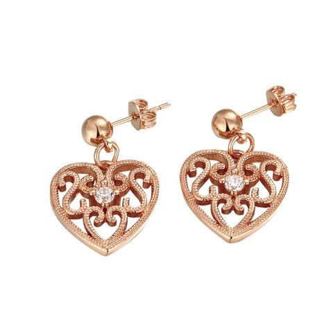 Rose Gold Plated Laser Cut Classic Heart Studs - rubiquejewelry.com