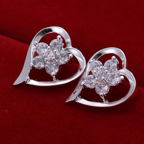 Sterling Silver Angular Heart Shaped with CrystalEarring