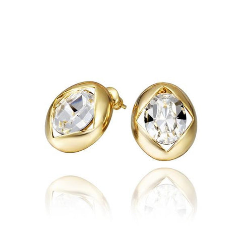 18K Gold Round Stud Earrings with Crystal Centerpiece Made with Swarovksi Elements - rubiquejewelry.com