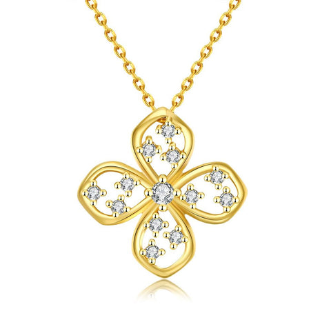 Gold Plated Four-Sided Clover Necklace - rubiquejewelry.com