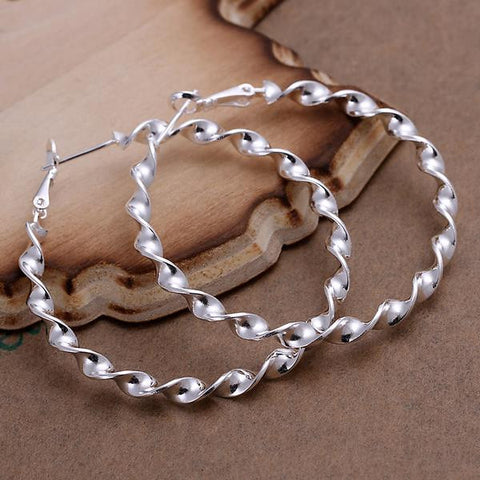 Sterling Silver Curved Wired Hoops - rubiquejewelry.com