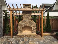 outdoor fireplace and patio landscape in Nashville