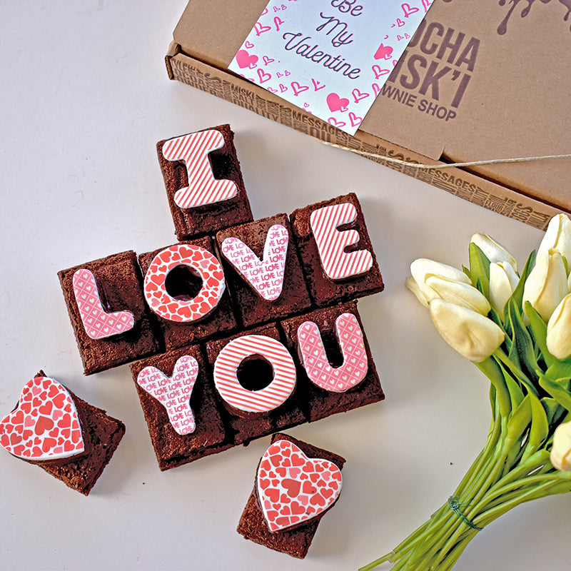 I Love You Brownie Message with box and flowers