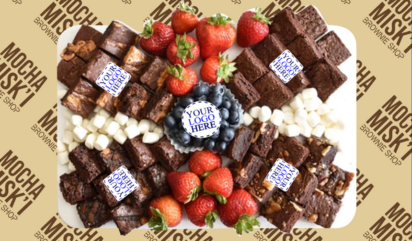 Corporate Logo Brownies and Fruits Platter