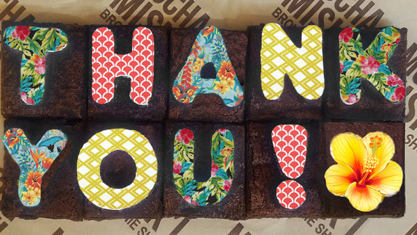 Thank You Tropical Brownie Message