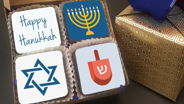 Box of Decorated Brownies - Hanukkah