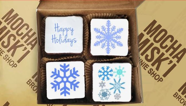 Box of Decorated Holiday Brownies