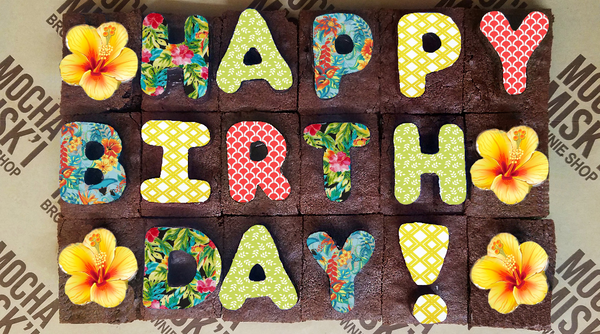 Happy Birthday Tropical Brownie Message