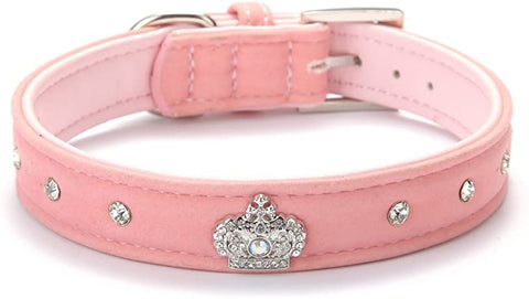 Designer Rhinestone Dog Collars with Diamond Crown for Puppy Pet