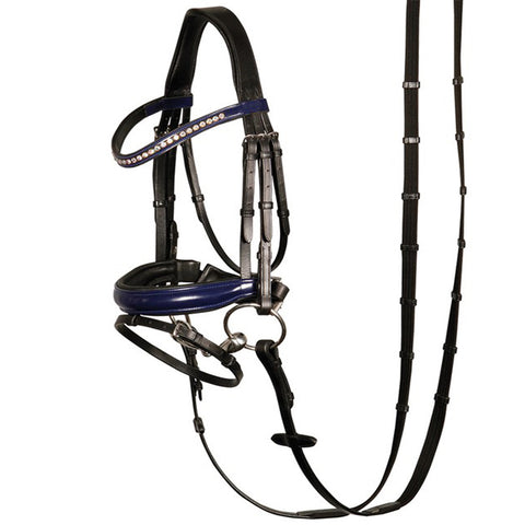 Black Blue Designer D.D Leather Dressage Horse Bridle